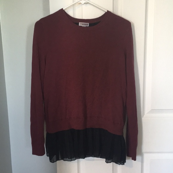 b07ed6c0c4 Chelsea28 Sweaters - Chelsea28 Red Wine Split Back Sweater with ruffles